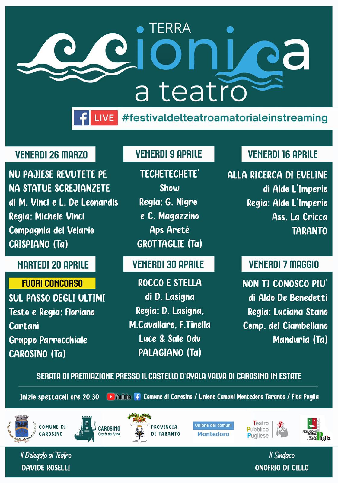 FESTIVAL DEL TEATRO AMATORIALE IN STREAMING